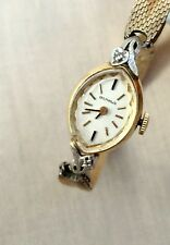 Benrus Vintage 14K Yellow Gold Diamond 17 Jewel Ladies Dress Wrist Watch