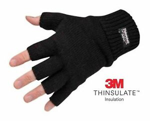 Mens Ladies THERMAL THINSULATE FINGERLESS GLOVES Knitted Wooly 3M Black UK