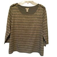 Chicos Womens Blouse Brown Stripe Floral 3/4 Sleeve Scoop Neck Top L/12 NWOT