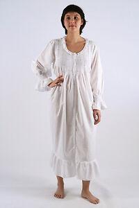 Amelia Ladies Cotton White/Blue Longsleeve w/ Fine Lace Trim Nightgown/Sleepwear