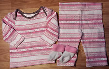 NWOT Girl's Size 6 M 3-6 Months M&S Cream/ Pink Fair Isle Design Top & Pants  +