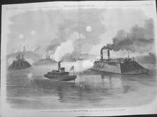 Ironclads silencing Rebels at Grand Gulf, Miss. -  Large Size -  Civil War -1863