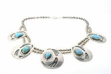 Hopi Tribe Native American Sterling Silver & 15mm Turquoise Necklace