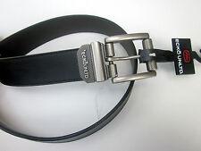 (#2) Men Belt Reversible Logo Marc Ecko Buckle Size 38 Leather Black to Brown