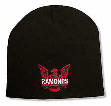 Ramones Eagle Logo Embroidered Black Beanie Ski Hat Cap New Official Band Merch