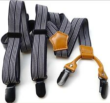Men's Suspenders Stretchy Unisex Casual Black Striped Adjustable Clip-on Braces