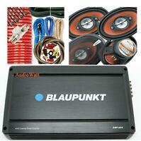 """BLAUPUNKT AMP1604 4 CH 1600W AMP + 4x AB-790 6""""x9"""" 1000W SPEAKERS + 4 GA AMP KIT"""