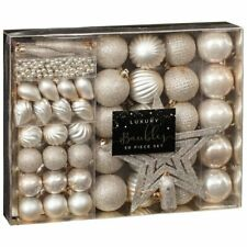 Christmas Luxury 50 Piece Xmas Tree Bauble Decoration Set - Gold