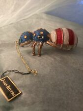 Joan Rivers Blown Glass Red White Blue Jeweled Bee Ornament As Is Defect