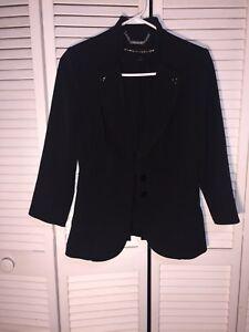 White House Black Market Blazer Size 4 Button V-Neck Long-Sleeve Black