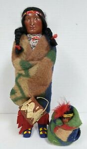 "11"" Minnetonka Skookum Woman Indian doll & baby in original box"