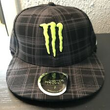 Monster Energy Hat Plaid Design Fitted size 7 Black & Gray