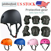 7prcs Protective Gear Helmet Knee Pads Adult Kids Set Cycling Skating Skateboard