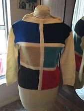 Vintage 60s MOD MOD Colorblock Jack Junior 100% Wool Sweater 40~Exc