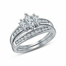 1.50 Ct Marquise Cut Cathedral Engagement Ring 14k White Gold
