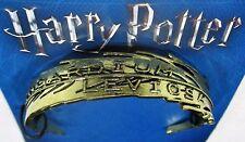 Licensed Harry Potter WINGARDIUM LEVIOSA Gold Toned Cuff Bracelet New!