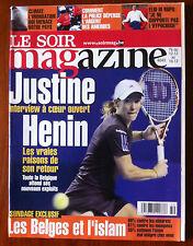 Soir Magazine 12/12/2009; Justine Henin/ Charlotte Gainsbourg/ Jade Foret/