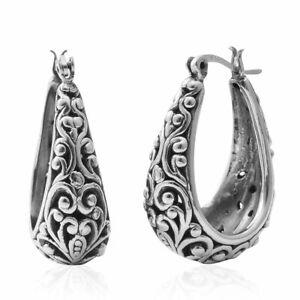 925 Sterling Silver Basket Hoops Hoop Earrings Women Jewelry For Gift 8.37 g
