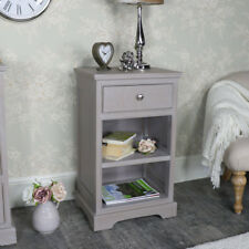 Taupe painted bedside cabinet bedroom furniture storage vintage rustic chic home