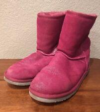 UGG AUSTRALIA Girls Classic Glitter Pink Sparkle Sheepskin Boots SZ 6  1002495 K