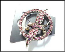 NEW PILGRIM DENMARK SILVER PLATED BROOCH / PIN CRYSTALS - SWALLOW COLLECTION