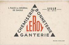 ANCIEN BUVARD PUBLICITAIRE BLOTTER VLOIPAPIER CHEMISERIE GANTERIE LEROY LILLE