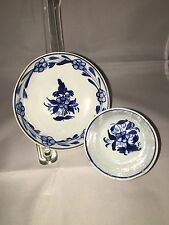 Staffordshire Pearlware Miniature Cup And Saucer Blue Floral Decoration 1820