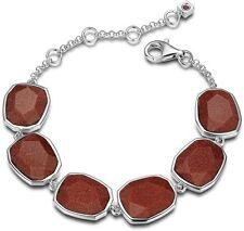 "ELLE Jewelry EXUBERANCE Sterling Silver 6.5"" + 1.5"" Brown Goldstone Bracelet"