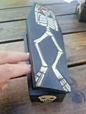 WOODEN COFFIN BOX (BOYS, GIRLS, STORAGE, TRINKET, BIRTHDAY, SKELETON)