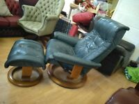 Ekornes Stressless recliner chair & Footstool Green Leather Delivery Possible