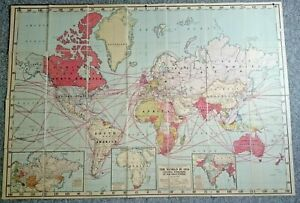 """World in 1914 Colonial Possessions of the Great Powers Westermann Linen MAP 65"""""""
