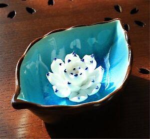Blue incense stick holder lotus incense burner incense holder ceramic home decor