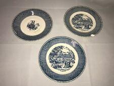 3 Tiny Farm Blue Country Plates