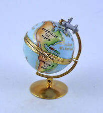 New French Limoges Trinket Box Amazing Globe With Detailed World Map & Airplane