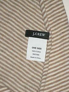 J. CREW BEIGE IVORY STRIPE 100% COTTON MENS WOMENS NECK SCARF WRAP