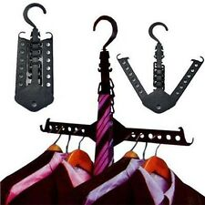 Dual Clothes Folding Hanger Rack Organizer Foldable Hook Holder Closet Wardrobe