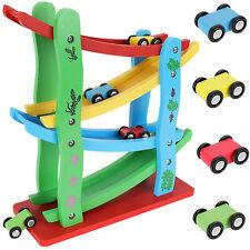Autorennbahn aus Holz mit 4 Fahrzeuge Kugelbahn Kinderspielzeug ab 3 Jahre 9349