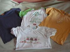 Set 4 Kurzarm T-Shirts blau-beige-grün-grai/weiß-orange Gr.134/140