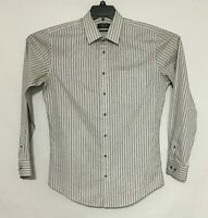 Nordstrom Men's Shirt Size 15 1/2 Wrinkle Free Trim Fit 100% Cotton Gray Stripe