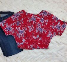 ANTHROPOLOGIE STARING AT STAR L Red Blouse Asian Floral Kimono Sleeve Shirt Top