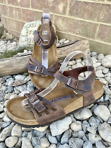 Birkenstock Bali Habana Brown Soft Footbed Sandals Sz 40 L 9 Ankle Strap