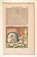 Agricola-de de Re Metallica-original Antique Print 1540-cristal horno 1471