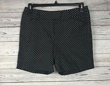Larry Levine Women's Black / White Flat Front Polka Dot Shorts Size 10