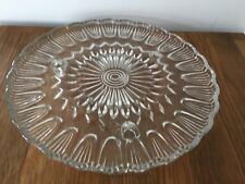 Vintage Pressed Glass Pattern Cake Stand Plate 24cm
