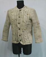 Vintage PEGE Norway Nordic Beige Jumper Cardigan Pure Wool Fairisle Womens M