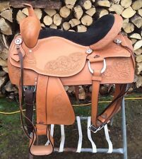 "18"" tan tooled leather Jacksonville Western  trail saddle padded suede seat"