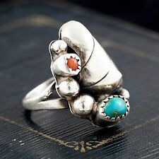 Antique Vintage Sterling Silver Native Pawn Navajo Turquoise Coral Ring S 5.5