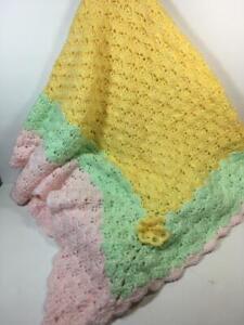 New Girl's Lg HANDMADE Yellow, Mint Green & Pink Soft Crochet Knit Blanket 52x60