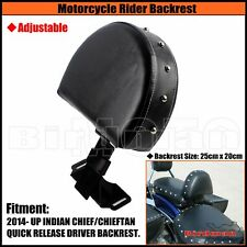 Driver Rider Backrest Adjustable Leather Pad for INDIAN CHIEF CHIEFTAIN 2014-UP