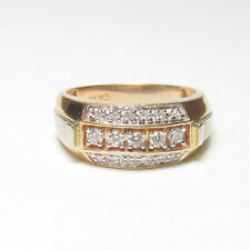 Mens Estate 10K Yellow And White Gold Brilliant Cut Diamond Band Ring 0.40 Cts